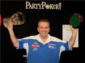 PARTYPOKER.COM WORLD GRAND PRIX CITY WEST HOTEL,DUBLIN,IRELAND9/10/11 PIC;LAWRENCE LUSTIG FINAL PHIL TAYLOR(ENG) V BRENDAN DOLAN(IRE) PHIL TAYLOR WINS